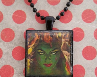 Fiery Green Chick Pendant Necklace