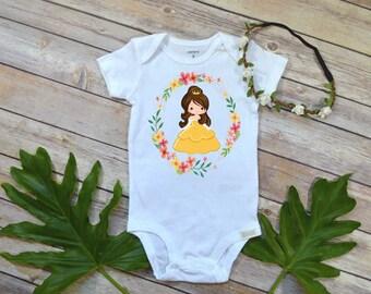 Belle Princess, Beauty and the Beast Princess shirt,Princess First Party Theme, Custom Princess shirt, Belle bodysuit,Princess Belle shirt