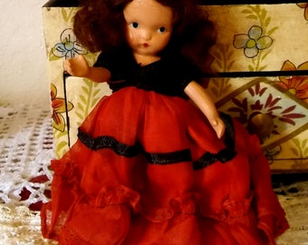 1940's vintage composition doll ~ composition Frozen Charolotte type doll