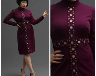60s Plum Purple Circular Cutout Peek-A-Boo Illusion Dress // Mod Go-Go Girl, Swinging London, Carnaby Street Style