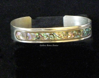Abalone Cuff Bracelet Mexican Silver Hecheoen Mexico Vintage Cuff Bracelet SWBR117