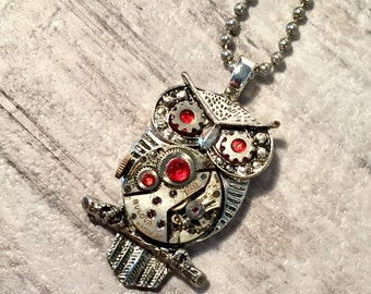 Steampunk Owl Necklace, Repurposed Bulova Watch Movement, Steampunk Jewelry, Silver and Red Pendant, Owl Pendant, Steam punk Jewelry