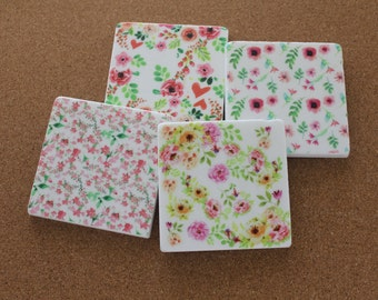 Set of 4 Tumbled Marble Tile Coasters - Watercolor Floral