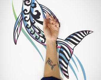 Dancing Whale Temporary Tattoo /  Whale Temporary Tattoo / Decorative Whale Temporary Tattoo / Animal Temporary Tattoo/Fish Temporary Tattoo