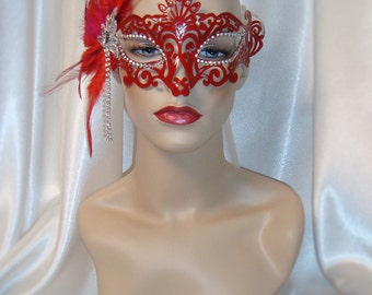 Red and Silver Masquerade Mask, Red Venetian Mask, Mardi Gras Mask