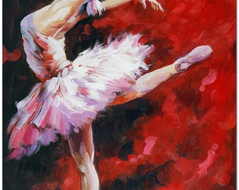 Signed Hand Painted  Impressionist Ballet Dancer Painting On Canvas - Contemporary Ballerina Fine Art  CERTIFICATE INCLUDED