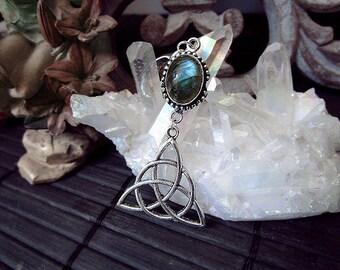 Trinity Knot Pendant, Celtic Pendant, Blue Labradorite Pendant, Mother Crone Maiden, Triquetra Pendant