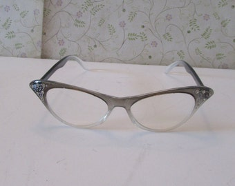 Vintage Retro Dr. Peepers Cat Eye Glasses Gray/Clear With Rhinestones S32135