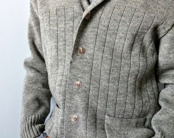 Hipster Grey Wool Cardigan Sweater -S/M  Mens Lapel Collar Vintage 80s Boxy Tailored Cardigan Jacket - Fleur de Lis Buttons Retro 50s Vest