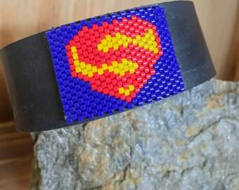 Superman // Beaded // Leather // Bracelet // Comics