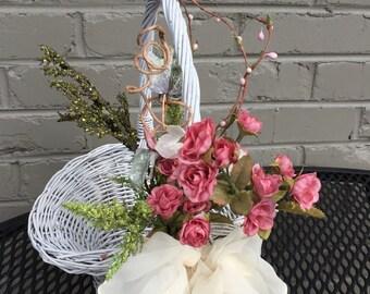 Flower Girl or Easter Basket. Designer Original Vintage White Wicker with Florals. Free US Shipping.
