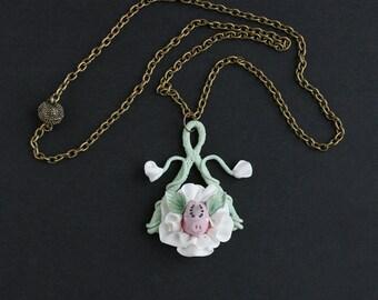 Piggy Pendant, Fairy Flower Pendant, Pig Pendant, Face Pendant Magic Jewelry,  Artisan Jewelry,  Miracles, Wonder, Fairy Tale, Faerie