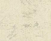 Nautical Map Fabric, Windham Drift Away 41344 2, Sue Schlabach, Nautical Quilt Fabric, Map Quilt Fabric, Cotton