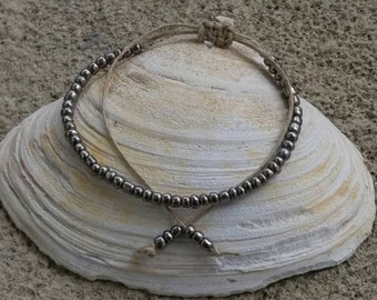 Metallic Hemp Bracelet Handmade, Hemp Anklet, Bracelet, Hemp, Hemp Jewelry, Metallic Ankle Bracelet, Handmade Adjustable Beaded Hemp Anklet.