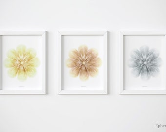 3 piece wall art set, Prints for Nursery Flowers for wall, Neutral home decor, Floral Nursery art Set of three prints, Illustration Prints