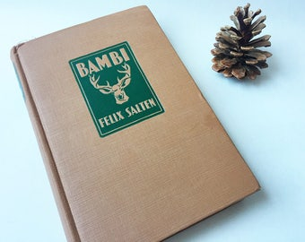 1929 BAMBI - Illustrated Vintage Book by Felix Salten - Baby Gifts, Woodland, Baby Shower, Childrens, Classic Books, Classic Disney, Deer