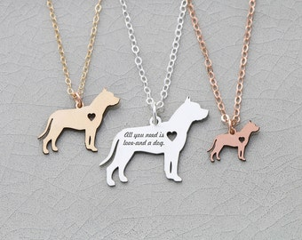 SALE • Pit Bull Dog Necklace • Pitbull • Animal Rescue • Personalized Dog Charm Necklace • Animal Charm Pet • Rose Gold Charm • Gold Pet