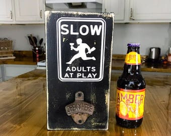 Bar sign Adults At Play funny kitchen sign Beer Bottle Opener Sign pub bar sign wall bottle opener beer bottle openers