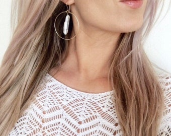 Crystal Quartz Earrings, Gold Hoops, Silver Hoops, Crystal Earrings, Healing Crystal Earrings, Crystal Hoop Earrings, Quartz Hoops, Boho