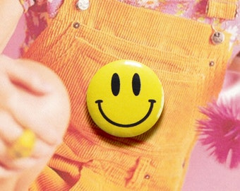 Smiley - 1.25 inch Pinback Button, Badge, Pin, Pin-back, Novelty, Happy, Face, Smile, 70s, 90s, 2000s, Bright, Yellow, Grunge, Positive