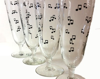 4 Musical Notes Pilsner Style Beer Glasses