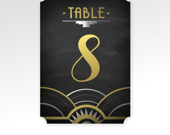 The ALICE . Printed Table Numbers Gold & Black Art Deco 1920s Great Gatsby Wedding . Choose Any Shape 5 x 7 in Die Cut Card . Double sided