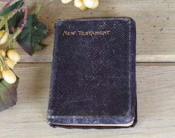1930s Mini New Testament, Religious, Pocket Black Leather New Testament, Religion Book, Spirituality, Leather Bound New Testament 17-28