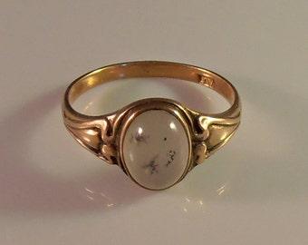 Victorian 10K Moss Agate Ring, Dendritic, Alternative Engagement Wedding
