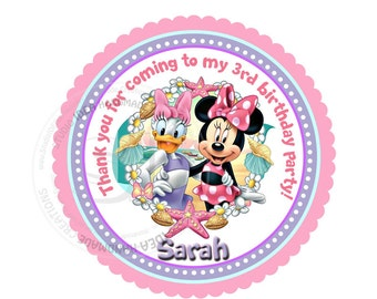 """Minnie & Daisy Custom PRINTABLE Thank you 2.5"""" Tags- Stickers - Summer Scallop Tags- Personalized Disney Thank you Tags- Digital File"""