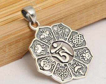 Sterling Silver OM Pendant, Yoga Pendant, Padma Zangpo Pendant, Meditation Pendant, 925 Silver OM Pendant, Buddhism Pendant 6.6g - ZY907