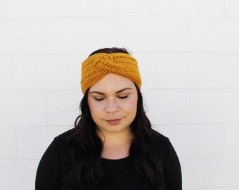 Mustard - Crochet/Knit Turban Headband Ear Warmer