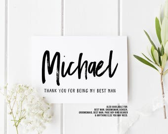 Best Man Card, Thank You Wedding Card, Card For Best Man, Card For Groomsman, Rustic Wedding Card, Usher Wedding Card, Card For Page Boy