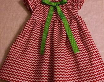 Christmas Dress of Chevron print with Leggings