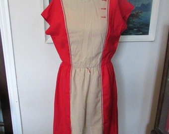 1980s two-tone red & taupe linen-mix day dress