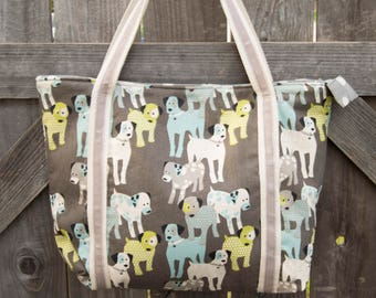 Puppy Dog Polka-Dot Shopping Bag, Shoulder Bag, Tote, Grocery Bag, Reusable, Vegan