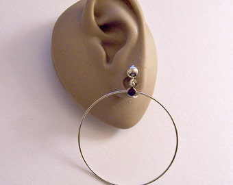 "Thin Ring 2 3/4"" Long Hoops Clip On Earrings Silver Tone Vintage Extra Large Wide Wire Dangles Round Domed Top Beads"