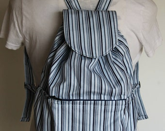 Small Striped Backpack, Small Knapsack in Blue Stripes