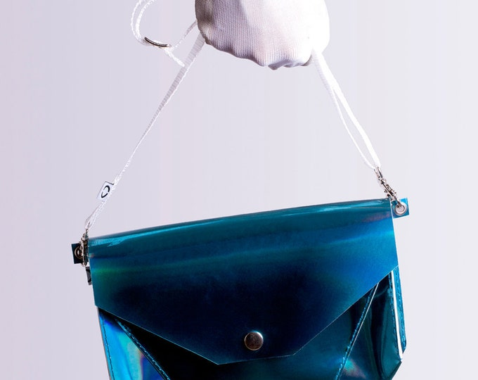 blue holographic bum bag / cross body bag