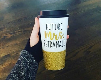 Future Mrs Coffee Cup // Engagement Gift // Engagement Coffee Mug // Future Mrs Gift // Wedding Shower Gift // Bacehlorette Gift // Glitter