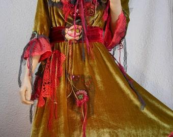 """SALE Silk velvet SET dress and cape """"Théodora"""", charming set, Art to wear, Unique, Seduction"""