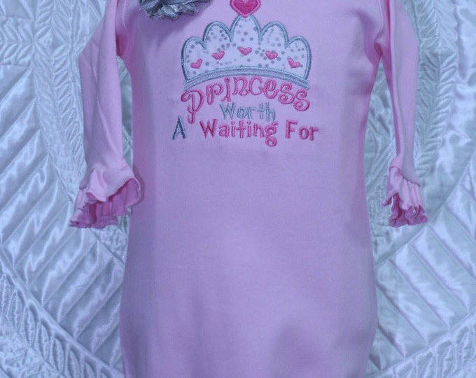 Coming Home outfit, Take me home, Baby girl pink gown, Hospital photo, Pink Princess Crown gown, pink and silver headband,Baby shower gift