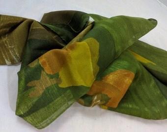 Handmade scarf - Raw silk - Shades of green scarf - NEW!