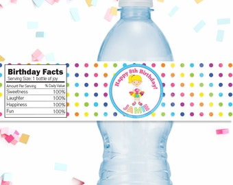 Girls Bowling Party Personalized Waterproof Water Bottle Wrappers, Bottle Label, Girls Bowling Party Printable Water Bottle Wraps, Rainbow