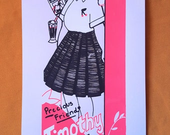 Precious Friend Timothy - PEARL GRAY VERSION - 3 Color Hand Drawn Hand Pulled Screenprint