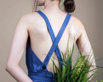 Blue dress, romantic dress, midi dress, dress with suspenders, holiday dress, retro dress, pleated dress, summer dress, resort dress.