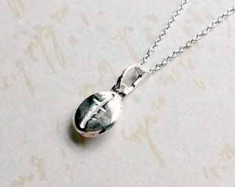 Sterling Silver Coffee Bean Necklace Coffee Lovers Pendant Gifts for Her