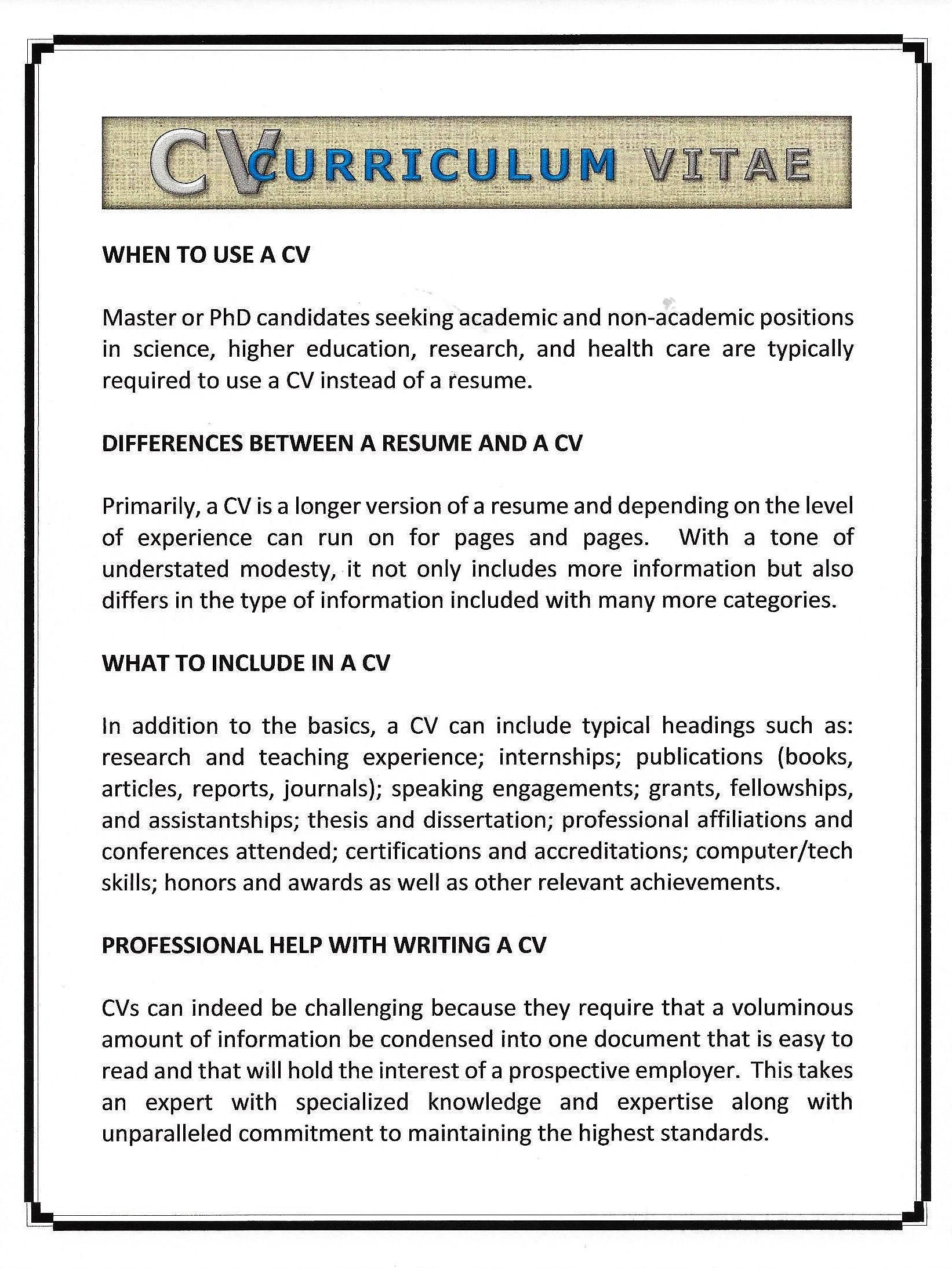 the custom curriculum vitae - Typical Curriculum Vitae