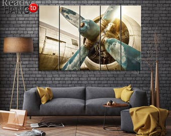 Aircraft engine, Canvas Wall Art Print, Aircraft on Canvas, Wall Home, Office Decor Interior, Aircraft, airplane propeller, Plane on canvas
