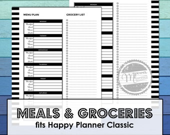 For Happy Planner Classic: pdf Meal Planner, Grocery List printable insert, weekly menu planning, meal plan, menu template, Mpower Studio