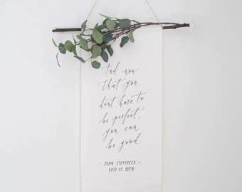 Small Calligraphy Wall Banner // Custom Handlettered Wall Hanging
